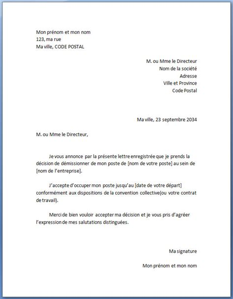 Exemple De Lettre De Résiliation B You Exemple De Lettre De D 233 Mission Type Standard Actualit 233
