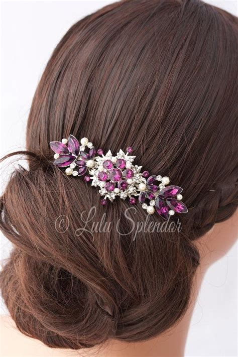 Vintage Purple Wedding Hair Accessories by Amethyst Wedding Hair Comb Purple Rhinestone Wedding Hair