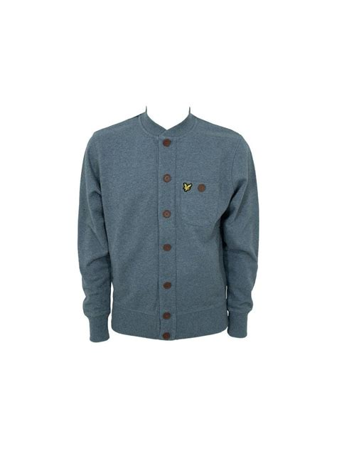 Bomber Button lyle and bomber button through sweat grey marle