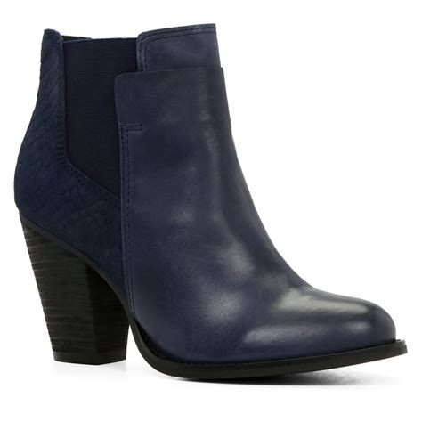 boots blue aldo sassi snakeskin chelsea ankle boots in blue navy lyst