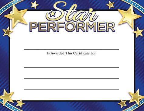 gold foil certificates star performer certificate