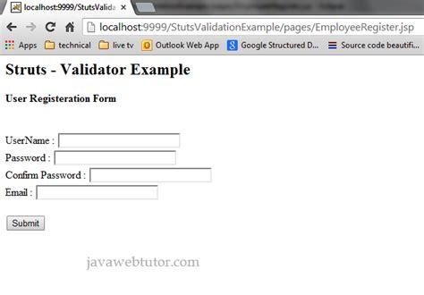 pattern for validation in php struts validation framework tutorial java web tutor