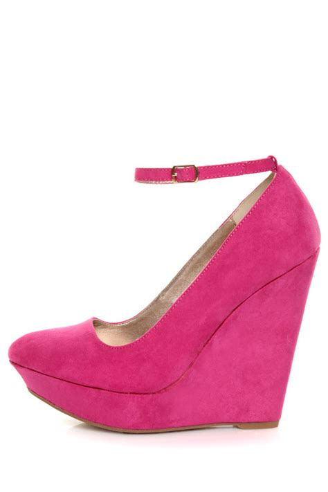 Wedges On 02 Best Seller qupid pulse 02 fuchsia suede pointy toe platform wedges