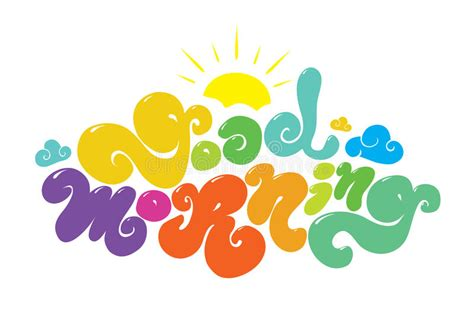 good morning colorful vector inscription hand stock vector image