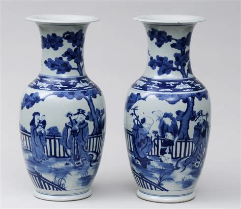 pair blue white open vases