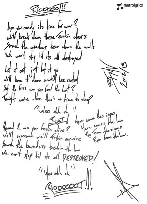 lyrics bullet for my bullet for my handwritten quot riot quot lyrics