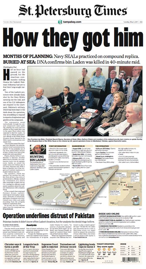Design Editor Newspaper | osama newspaper front pages st pete times mastery of