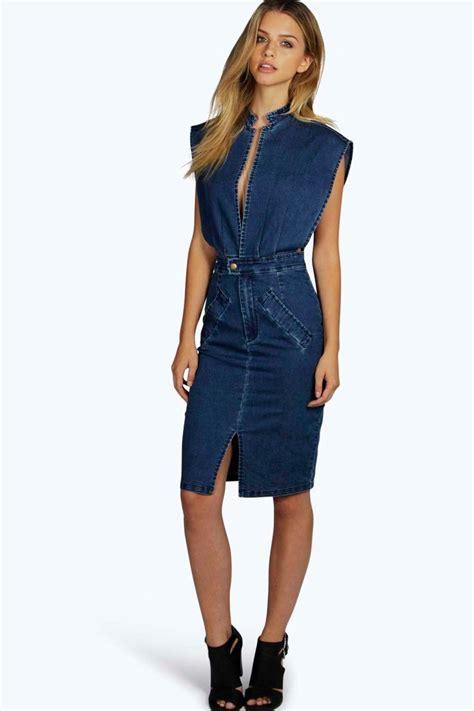 Denim Dress boutique open front denim dress at boohoo