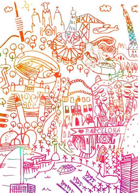 doodle barcelona illo pink orange from barcelona gaudi mediterranian