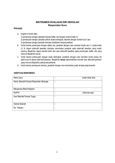 format evaluasi diri guru smp angket evaluasi diri guru smp