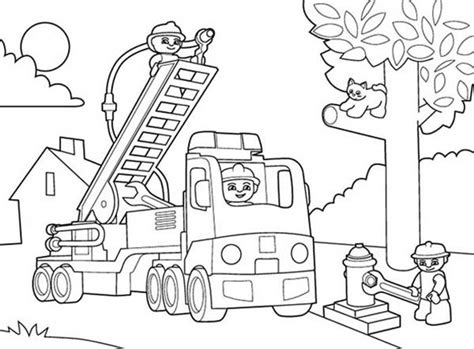 lego duplo fireman saving cat on tree colouring page