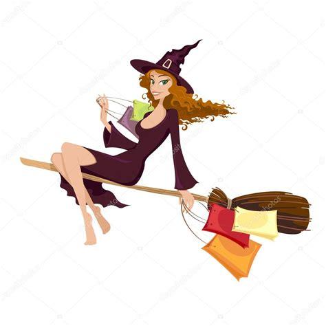 imagenes de brujas volando halloween bruja de halloween volando en la escoba archivo im 225 genes
