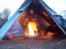 Outdoors Fireplace - tarp tipi survivingtheoutdoors