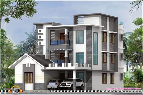 3 floor house design three storied modern luxury house kerala home design and