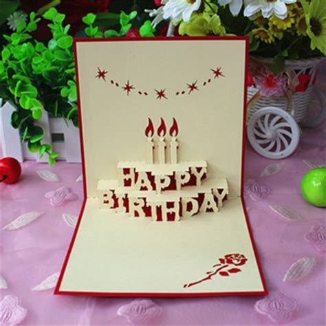 Creative Handmade Cards Ideas - yuan sheng happy birthday card three dimensional greeting