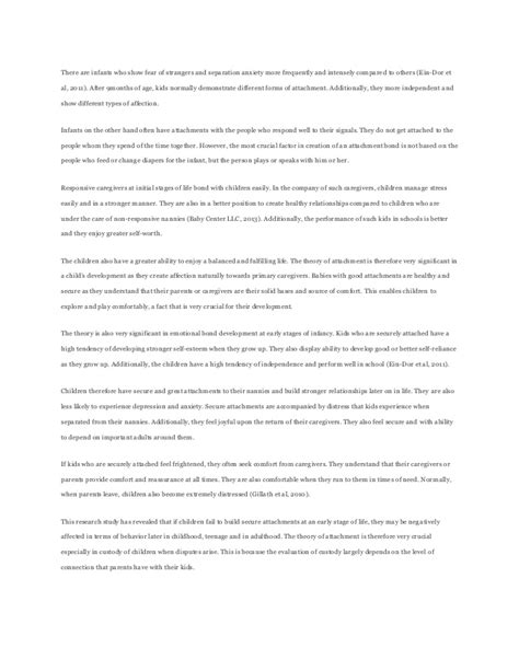 Attachment Theory Essay by Sle Essay On Attachment Theory