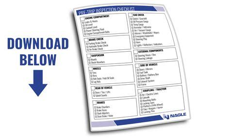 Cdl Pre Trip Checklist Cdl Pre Trip Inspection Checklist Nagle