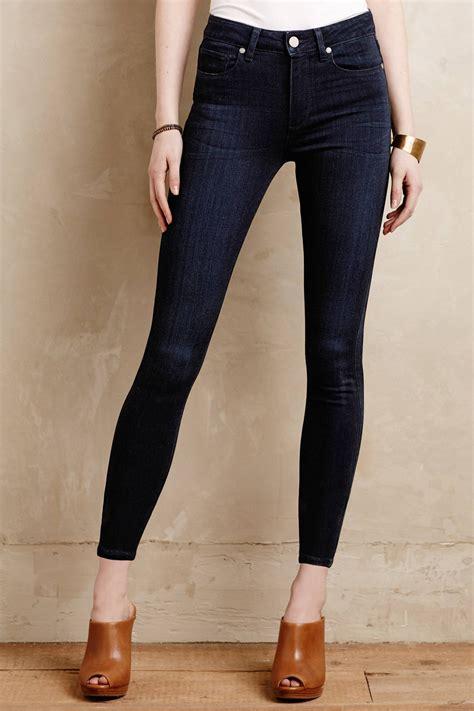 paige petite jeans paige hoxton mid rise petite jeans in blue lyst