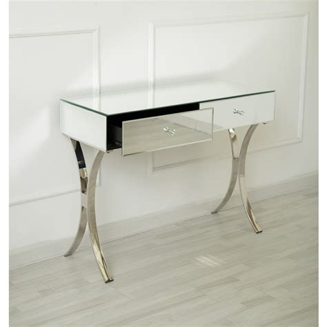 curved leg console table venetian mirrored two drawer curved leg console table