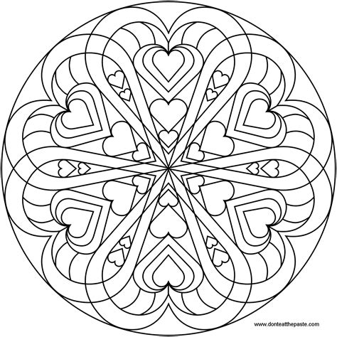 mandala coloring pages hearts don t eat the paste heart mandala to color