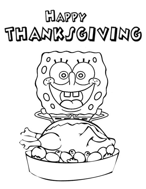 Spongebob Thanksgiving Coloring Pages spongebob turkey thanksgiving coloring page h m