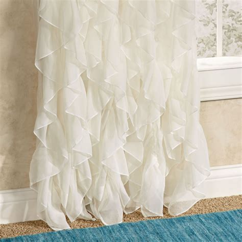 Ruffled Window Curtains Cascade Sheer Voile Ruffled Window Treatment