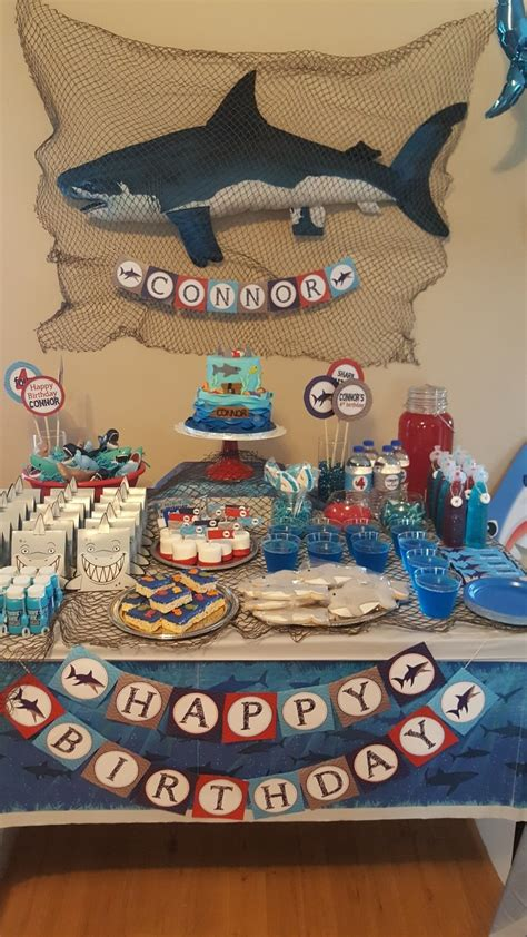 baby shark birthday theme awesome shark themed birthday party shark theme pinterest