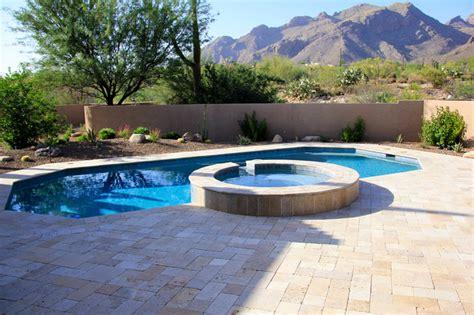 Backyard Pools Tucson Tucson Travertine Southwestern Pool By