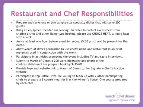 Chef Responsibilities by 2009 About Signature Chefs Auction