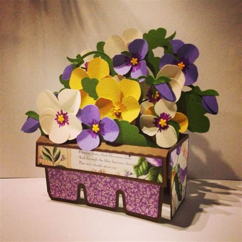 Diy Papercraft Pop Up Card Bunga Pansy pansies box card designed by svgcuts and easter pansies box and 3d