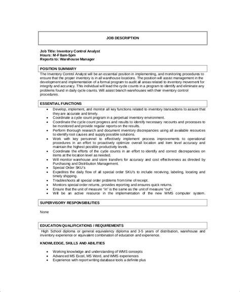 inventory control manager job description jd templates strategy
