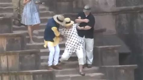 hillary clinton falling down stairs the daily caller watch hillary clinton slips down the stairs in india