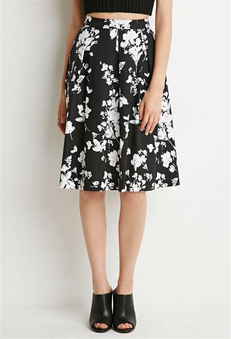 Forever 21 Flower Skirt lyst forever 21 floral a line skirt in black