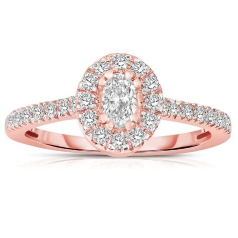 half carat oval cut halo engagement ring in