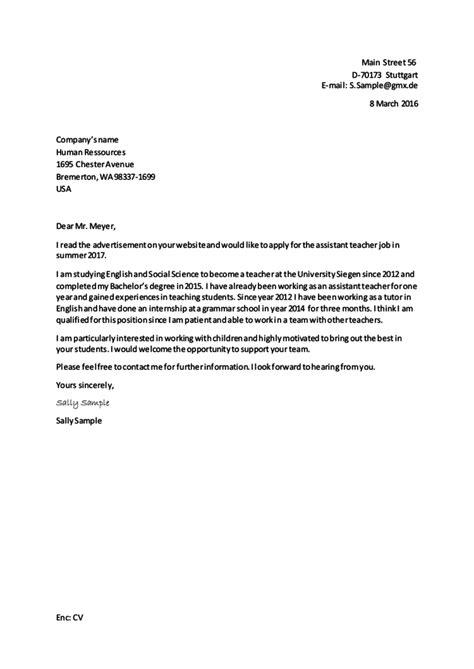 Bewerbung Auf Englisch Muster 9 Klabe Bewerbung Schreiben Letter Of Application With Exle