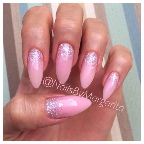 light pink gel light pink stiletto nails glitter gel nail design