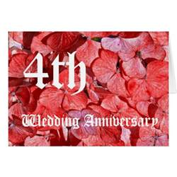 4th wedding anniversary hydranga cards zazzle