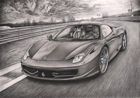 car ferrari drawing ferrari 458 italia graphite drawing by pen tacular