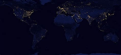 world map city lights happy new year earth city lights via rotating earth