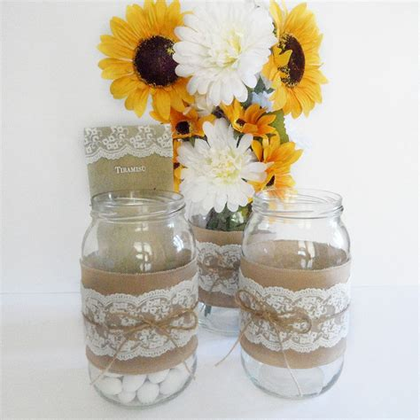 vasi shabby fascia shabby per vaso con lino di cotone pizzo e nastro