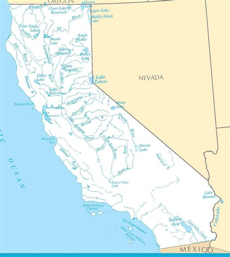 california map rivers and mountains river map california