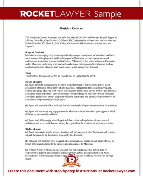 musicians contract template musician contract contract template with