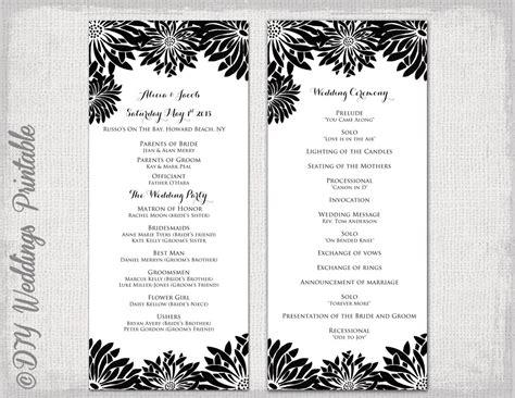 printable wedding program template black amp white