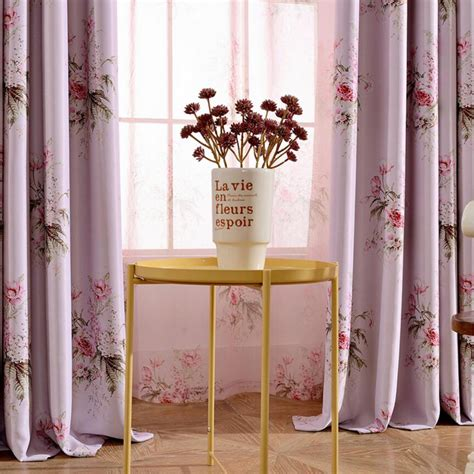 pink long curtains pink floral long polyester beautiful curtains for girls