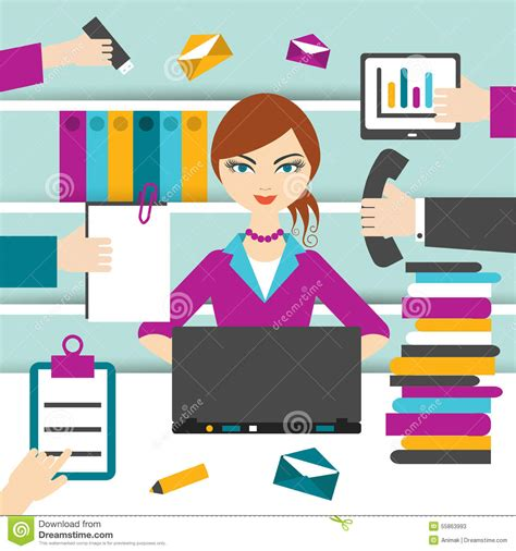 2 Person Desk Home Office by Woman Secretary Hard Working Stock Illustration
