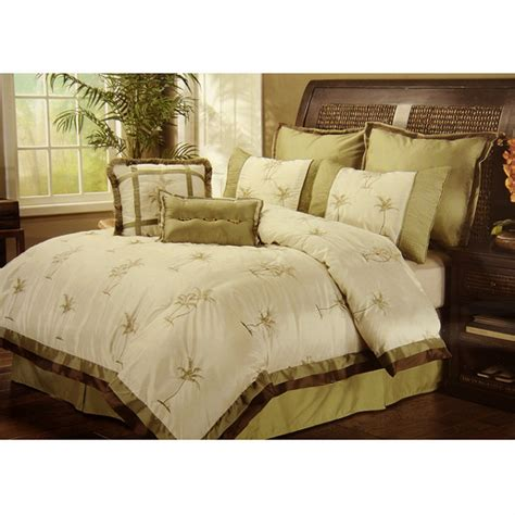 8pc selma ivory palm tree embroidered faux silky tropical