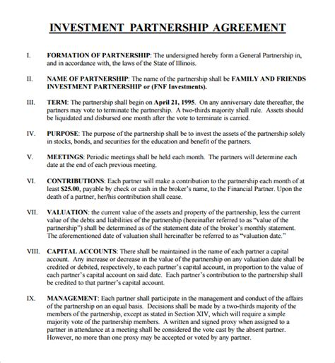 investor contract template free sle business investment agreement 9 free documents