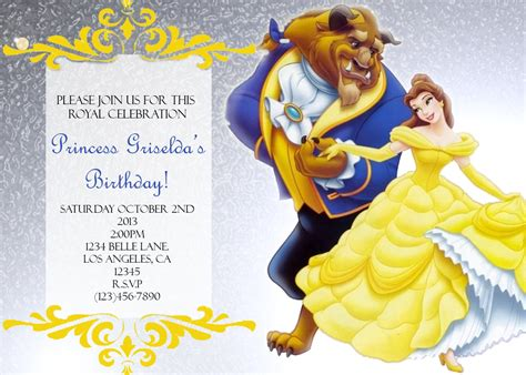 and the beast birthday card template and the beast invitations mickey mouse
