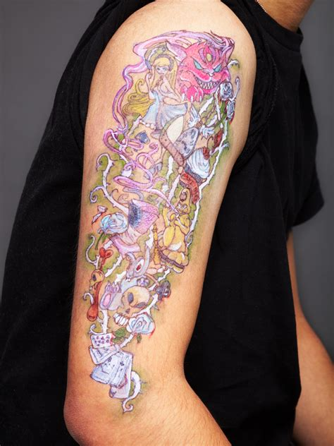 alice in wonderland sleeve tattoo in tattoos designs ideas and meaning