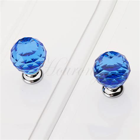 2015 new 1 pc 30mm blue drawer knobs glass